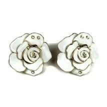 VINTAGE WHITE FLOWER FAUX DIAMOND EARRINGS COSTUME JEWELRY - $13.85