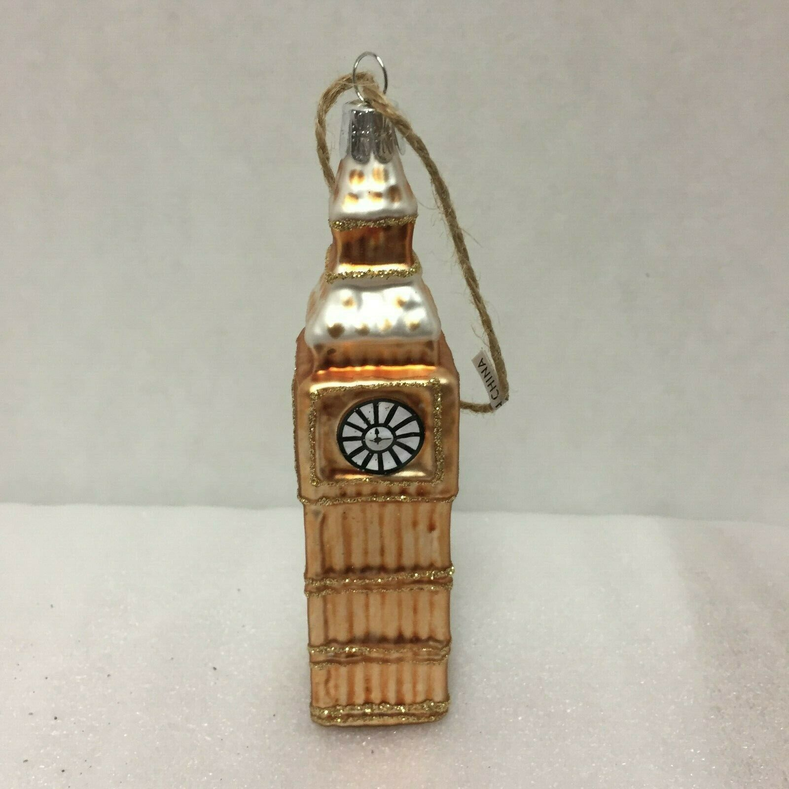 Primary image for Pottery Barn Big Ben Christmas Ornament New Old Stock Glitter London England