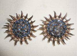 Trifari Sterling Alfred Philippe Large Blue Topaz Sunburst Clip Earrings 1945 - $261.25