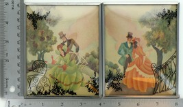 """Set of 2 Vintage 4"""" X 5"""" Convex Glass Silhouettes Southern Belle Courting 004"""