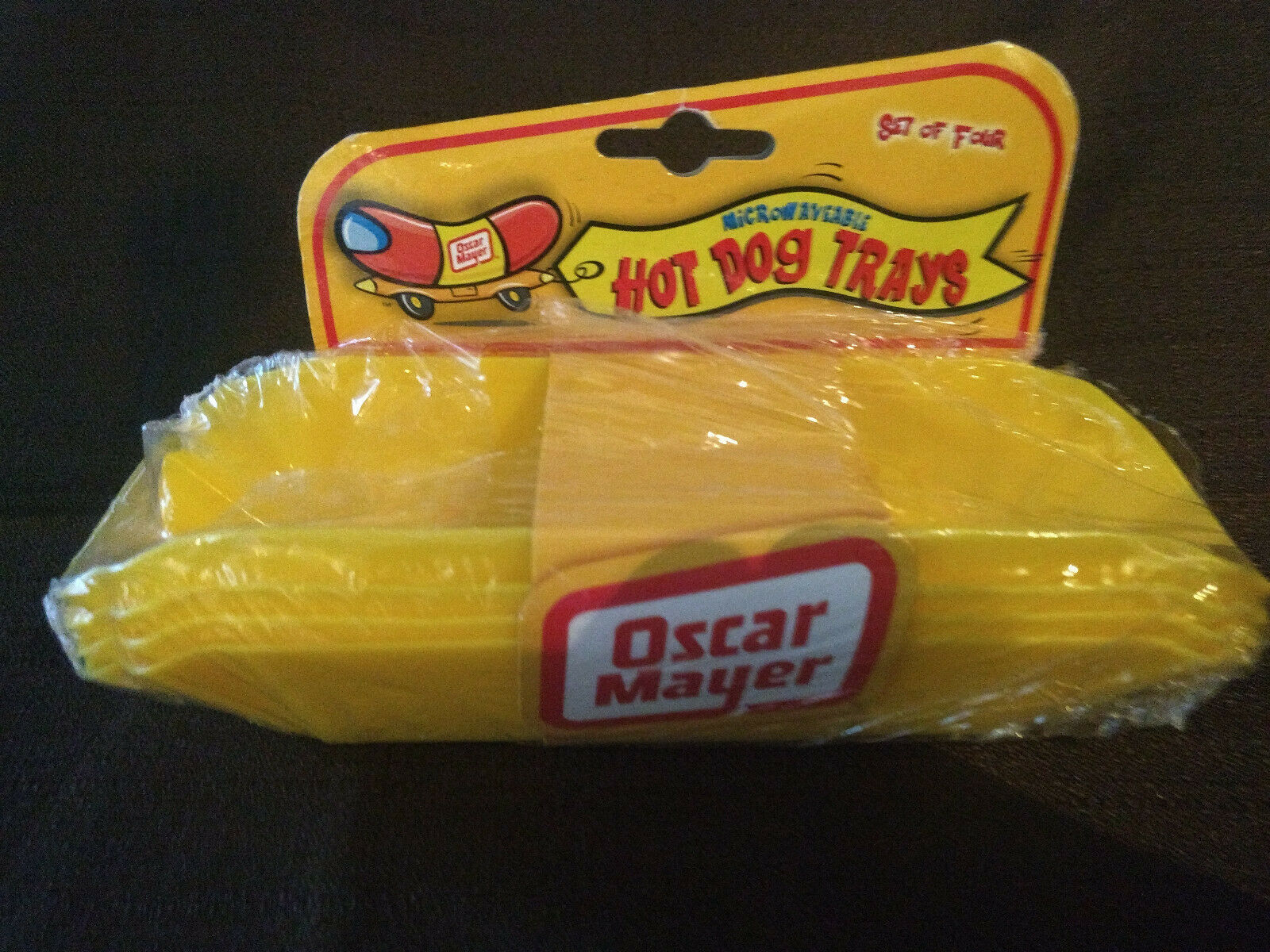 New Rare Collectible Oscar Mayer Wiener Hot Dog Tray Holders Set of 4 Yellow