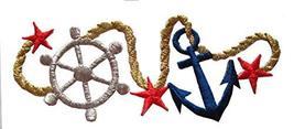 "Spk Art 4-1/4"" Nautical Ship Anchor Wheel Marine Embroidery Iron On Appl... - $4.86"