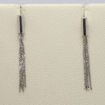 18K WHITE GOLD PENDANT EARRINGS WITH FRINGES, LENGTH 22 MM, MADE IN ITALY image 1