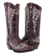 Womens Purple Leather Western Cowboy Boots Rhinestones Rodeo Cowgirl - €118,53 EUR