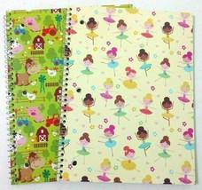 Girls Spiral Notebooks Ballerinas Cute Farm Animals Wide Ruled 70 Sheets... - $19.93 CAD