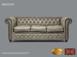 Original Chesterfield Brand Vintage Grey  Sofa,3 seats ,Real leather ,Ha... - $4,998.00