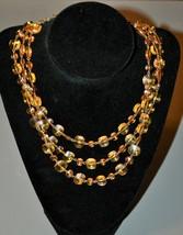 Vintage Topaz Amber Glass Bib Necklace West Germany - $14.25