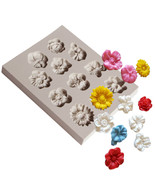 Mini Flowers Silicone Mold, Rose Mold, Hibiscus Mold, Sunflower Mold - $11.99