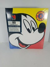 Vintage Disney Mickey Mouse 3 Ring Photo Album Big Face Red Yellow Blue - $12.38