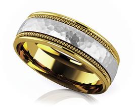 14K Yellow Gold Fn 8mm Men & Women Hammered Hand Woven Designe Wedding B... - $86.99