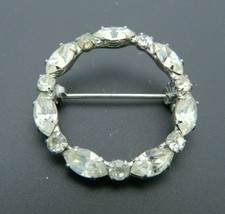 Clear Rhinestone Circle Wreath Silver Tone Pin Brooch Vintage - $19.79