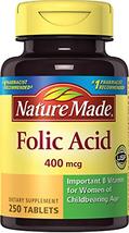 Nature Made Folic Acid 400 mcg. Tablets 3 Pack - $24.68