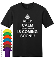 ‬‬KEEP CALM OUR BABY BOY IS COMING SOON IN 2018 Mens Gildan T-Shirt New - $19.50
