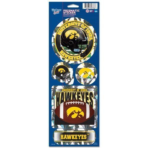 IOWA HAWKEYES PRISMATIC HOLOGRAPH STICKER DECAL LABEL SHEET OF 5 NCAA