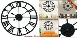 60cm Traditional Vintage Style Iron Wall Clock Roman Numerals Home Decor... - $27.19