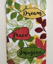 KITCHEN LINENS SET 4pc Towels Potholders Dream Peace Imagine Green Red image 3