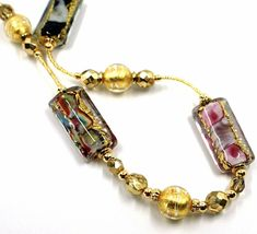 LONG NECKLACE MULTI COLOR MURANO GLASS RECTANGLE TUBE, SPHERE, GOLD LEAF, ITALY image 3