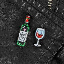 Set of 2 Heart Ice Wine and wineglass Pins Backpack Bags Hats Leather jeckets De - $3.99