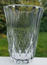 Vintage Val St. Lambert Lead Crystal Diamond Pattern Vase Belgium Signed - $9.89