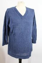 Talbots L Blue Heather 100% Linen V-Neck Knit Tunic Sweater - $29.45