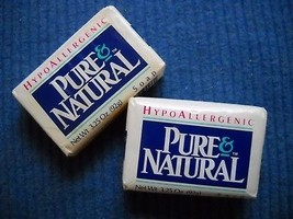 2 BARS 3.25 OZ  VTG PURE NATURAL HYPOALLERGENIC BAR SOAP IN ORIGINAL PAC... - $7.99