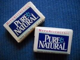 2 BARS 3.25 OZ  VTG PURE NATURAL HYPOALLERGENIC BAR SOAP IN ORIGINAL PAC... - $9.50