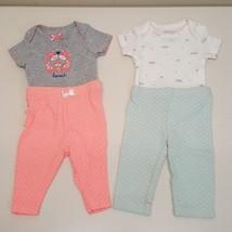 Newborn Girls Outfit Lot Set Cherokee Carters Bodysuit Pants - $9.87