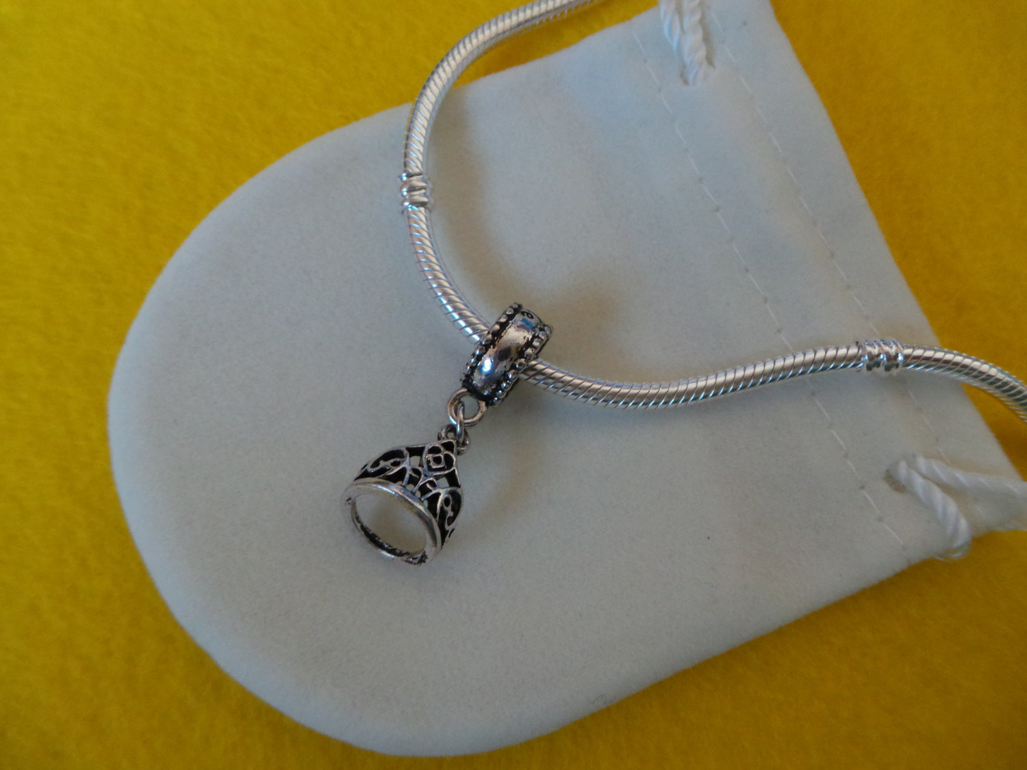 NEW Disney Princess Theme Dangle Charm - Belle's Tiara Crown, silver plate + BAG