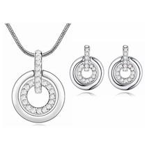 New embellished with Crystal from Swarovski Jewelry Set Double Circle Pe... - $17.55