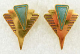 LAUREL BURCH Blue Enamel and Gold-Tone Pierced EARRINGS - 1 1/4 inches long - $25.00