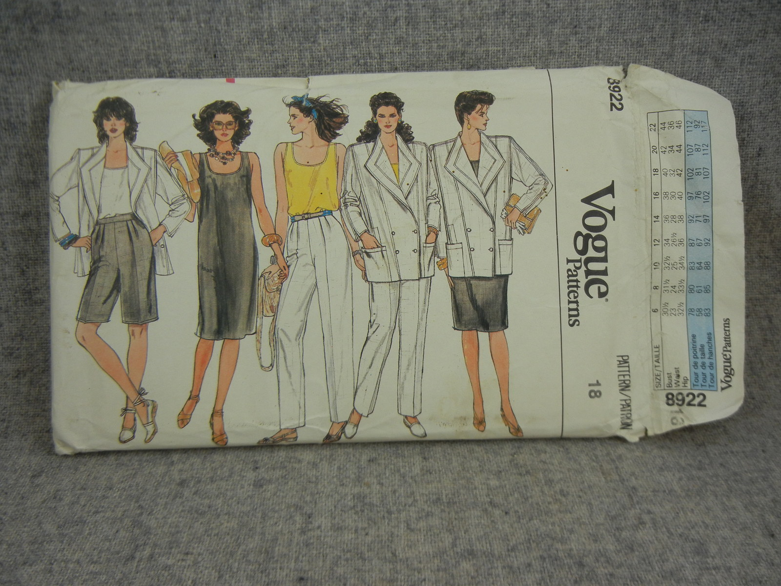 Primary image for Misses Size 18  Jacket Dress Top, Pants & Shorts Vogue 8922 UC FF Office Attire
