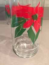 Vintage 70s Red Poinsettia and Green leaves Christmas cocktail glasses image 3