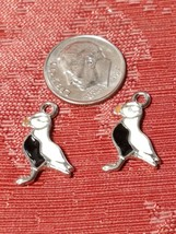 White Epoxy Enameled Puffin Charm 12mm L x 20mm W x 2mm D image 2