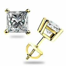 1.10Ct Princess Cut Solitaire Lab Stud Earrings Solid 14k W or Y Gold Sc... - $52.38