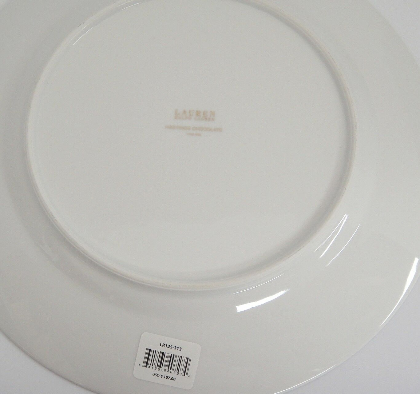 """Ralph Lauren Hastings Chocolate 12"""" Chop Plate Round Platter Brown Gold Zigzags image 2"""