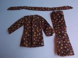 Mattel Vintage Barbie Brown Floral Outfit with Belt - $14.01