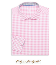 Bugatchi Men's Pink White Plaids Cotton Shaped Fit Shirt Sz 17 34 / 35 NEW - $98.99