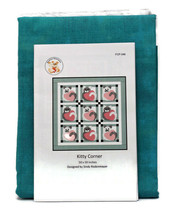 "Quilt Kit - Kitty Corner 50"" x 50"" Cats Aqua Pink Quilt Kit M409.18 - $74.97"