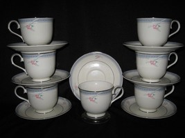 FRANCISCAN MARIANA FOOTED CUPS & SAUCERS - 7 SETS - $67.68