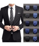 Classic Men Tie Wedding Casual Necktie Plain Solid Jacquard Black Adjust... - $5.99