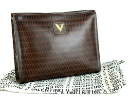 Authentic Mario Valentino Brown PVC V Pattern Canvas Secondary Clutch Ba... - $117.81