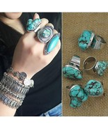 Vintage Alloy Gypsy natural Turkish stone ring Boho tibetan silver amule... - $14.88