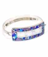Artisan mosaic bracelet handmade gems inlay mother-of-pearl lazurite cha... - $185.00