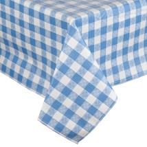 25 Yard Roll Blue and White Gingham Checked Vinyl Table Cover with Flann... - €96,66 EUR
