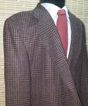 RALPH LAUREN POLO UNIVERSITY CLUB BROWN PLAID HOUNDSTOOTH BLAZER PURE WO... - $29.39