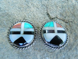 Vintage Sterling Silver Zuni Round Clip Earrings - $74.25