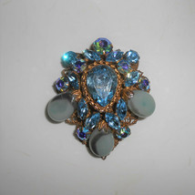 Regency Pin Brooch Art Glass Blue Rhinestones Aurora Borealis Blue Vintage  - $61.75