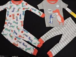 Carters Dinosaur Pajamas 4 Piece PJs 18M NWT Toddler Boys Glows in Dark Striped - $19.80
