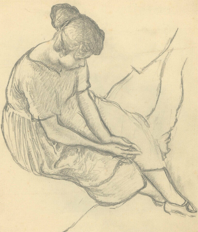Harold Hope Read (1881-1959) - Early 20th Century Graphite Drawing, Hilda Seated