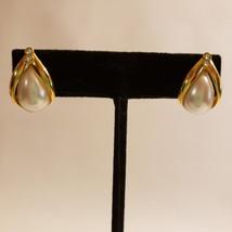 Avon Gold Tone Post Pierced Earrings Rhinestones Faux Pearl - $16.52